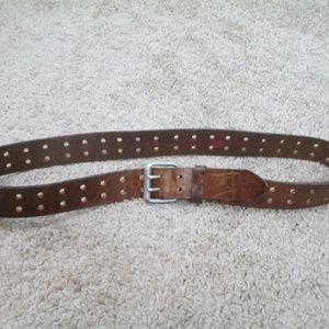 Dickies Accessories - Dickies Leather Belt Double Holes 36 Brown Biker